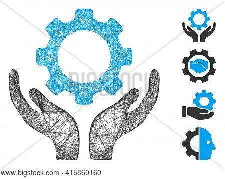 Vector Network Gear Maintenance Hands. Geometric Hatched Frame Flat Network Generated With Gear Main