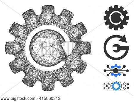 Vector Wire Frame Gearwheel Rotation. Geometric Hatched Frame Flat Network Made From Gearwheel Rotat