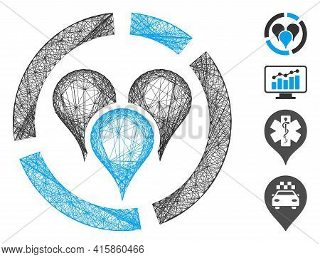 Vector Wire Frame Geo Location Diagram. Geometric Wire Carcass 2d Network Made From Geo Location Dia