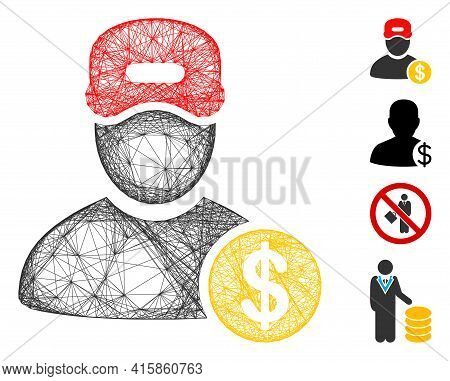 Vector Net Guy Salary. Geometric Wire Frame 2d Net Made From Guy Salary Icon, Designed With Crossed
