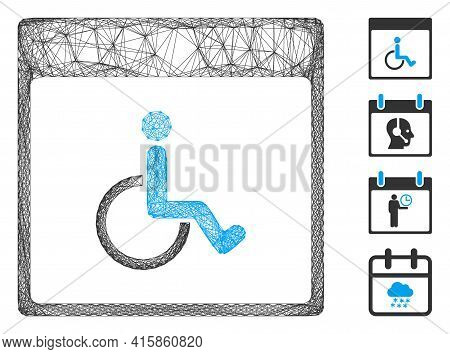 Vector Wire Frame Handicapped Calendar Page. Geometric Wire Frame Flat Net Based On Handicapped Cale