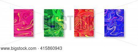 Distorted Warp Lines Cover Backdrop Set, Vector Curve Line Texture Background Collection, Flat Liqui