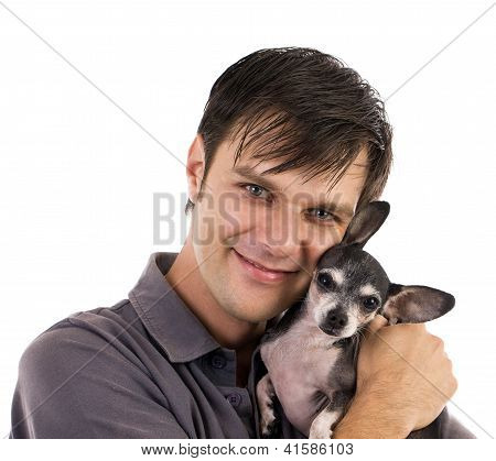 Man With Chihuahua Pet