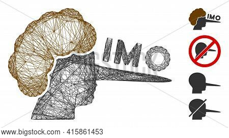 Vector Network Imo Liar. Geometric Wire Carcass Flat Network Made From Imo Liar Icon, Designed From