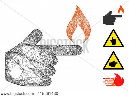 Vector Net Index Finger Fire. Geometric Linear Carcass 2d Net Generated With Index Finger Fire Icon,
