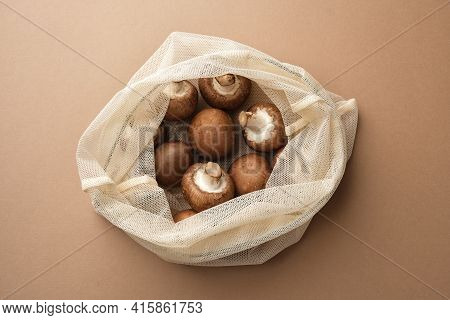 Fresh Champignon In A Reusable Fabric Eco Bag. Reusable Eco-friendly Products.