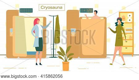 Man Having Cryosauna Medicine Procedure With Cold Therapy. Man In Chamber With Low Temperature. Medi