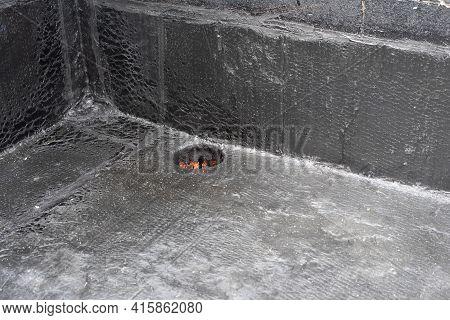 Rainwater Drain. Flat Roof Drain Close Up