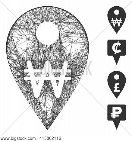 Vector Wire Frame Korean Won Map Marker. Geometric Wire Frame 2d Net Made From Korean Won Map Marker