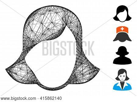 Vector Network Lady Face Template. Geometric Linear Frame Flat Network Made From Lady Face Template