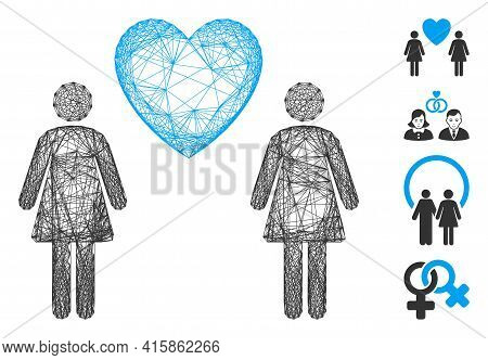 Vector Network Lesbi Love Pair. Geometric Wire Frame 2d Net Made From Lesbi Love Pair Icon, Designed