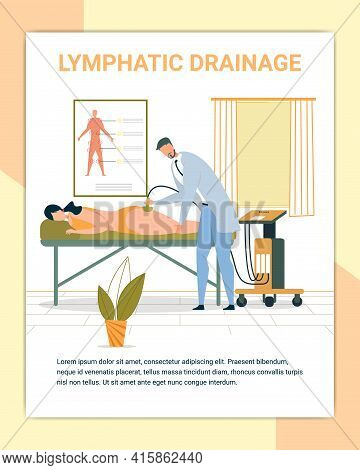 Lymphatic Drainage Poster, Equipment For Losing Weight. Overweight Woman Lying On Couch. Therapeutic