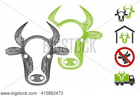 Vector Net Livestock. Geometric Hatched Carcass 2d Net Generated With Livestock Icon, Designed With