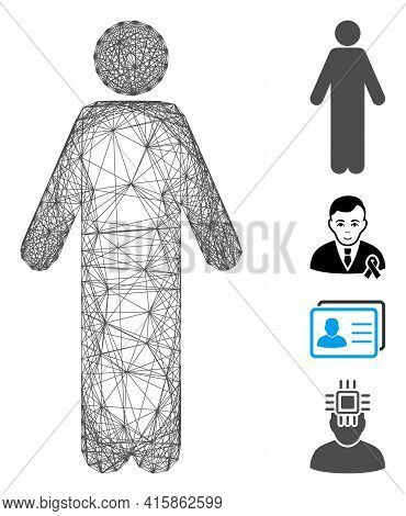 Vector Wire Frame Male. Geometric Linear Frame Flat Net Made From Male Icon, Designed From Crossing