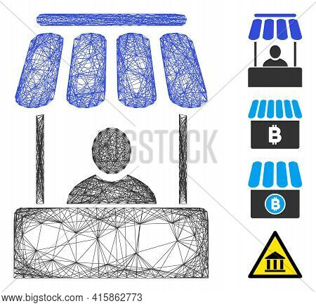 Vector Wire Frame Market Booth. Geometric Wire Frame Flat Network Generated With Market Booth Icon,