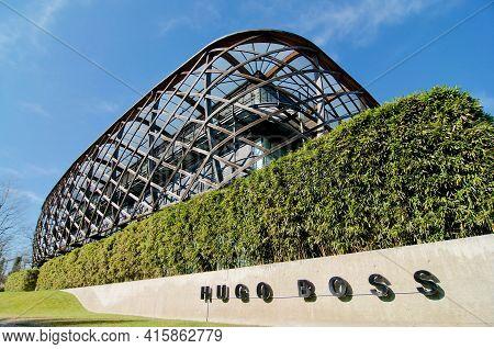 Coldrerio, Ticino, Switzerland - 10th March 2021 : Hugo Boss Ticino Sa Building Headquarters Located