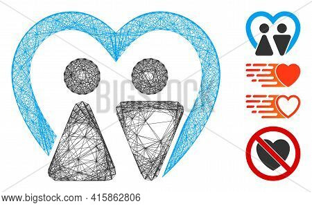 Vector Wire Frame Marriage. Geometric Wire Frame Flat Network Generated With Marriage Icon, Designed