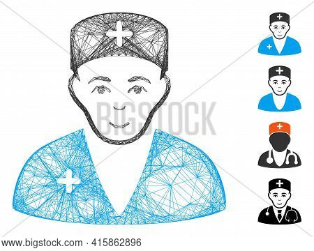 Vector Network Medic. Geometric Wire Frame 2d Network Generated With Medic Icon, Designed With Cross