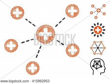 Vector Network Medical Links. Geometric Wire Frame Flat Network Made From Medical Links Icon, Design