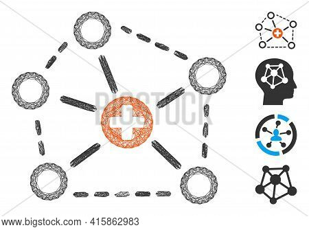 Vector Net Medical Network Structure. Geometric Hatched Frame Flat Net Made From Medical Network Str