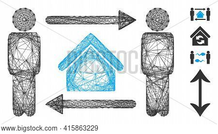Vector Net Men Home Exchange. Geometric Linear Frame 2d Net Generated With Men Home Exchange Icon, D