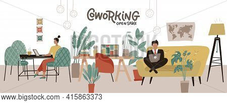 Creative Co-working Center Interior. Shared Working Environment. People Working At Laptops In The Op