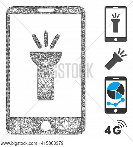 Vector Wire Frame Mobile Torch App. Geometric Hatched Frame Flat Network Made From Mobile Torch App