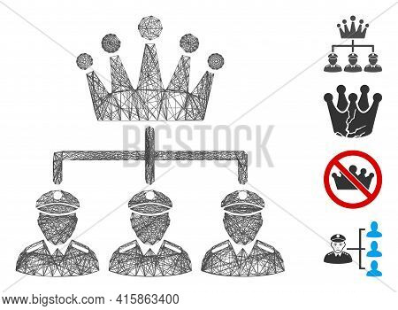 Vector Wire Frame Monarchy Structure. Geometric Wire Frame 2d Net Based On Monarchy Structure Icon,