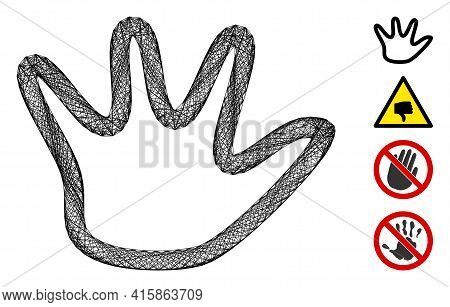 Vector Wire Frame Negation Gesture. Geometric Wire Frame Flat Net Made From Negation Gesture Icon, D