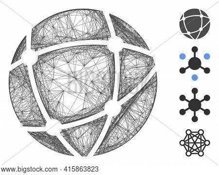 Vector Wire Frame Network. Geometric Wire Frame 2d Network Generated With Network Icon, Designed Wit