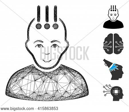 Vector Wire Frame Neural Interface. Geometric Wire Frame Flat Network Made From Neural Interface Ico