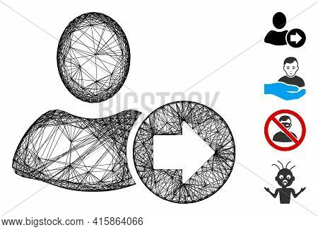 Vector Wire Frame Next User. Geometric Wire Frame Flat Net Based On Next User Icon, Designed From Cr