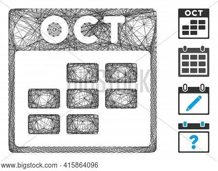 Vector Net October Calendar Grid. Geometric Hatched Frame Flat Net Made From October Calendar Grid I