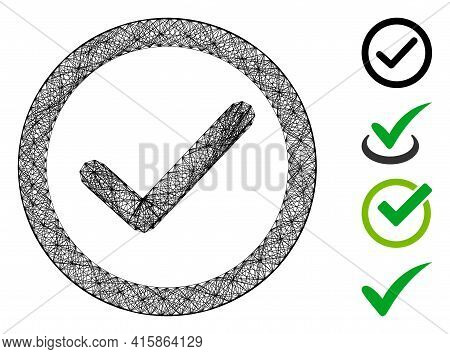Vector Wire Frame Ok Option. Geometric Wire Frame 2d Network Generated With Ok Option Icon, Designed