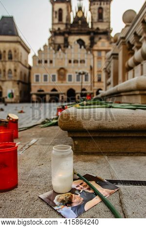 Prague, Czech Republic - March 26, 2021. 25 000 Crosses And Flowers On Old Town Square As Memory Of