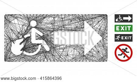 Vector Network Patient Exit. Geometric Linear Frame 2d Network Generated With Patient Exit Icon, Des