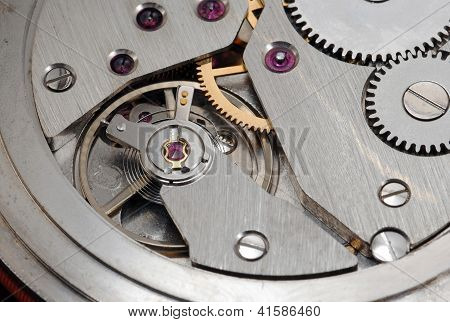 Old Watch Close Up Mechanism