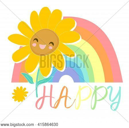 Sunflower Hand Drawn Sketched Cute Flower Positive Vibes Happy Print Vector Illustration Sketch Hand
