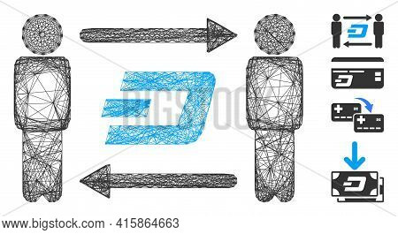 Vector Net People Exchange Dash. Geometric Hatched Frame 2d Net Generated With People Exchange Dash