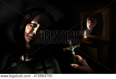 A Middle Aged Woman Appears Dour As A Catholic Priest Reaches Out With A Crucifix In Hand. A Candle