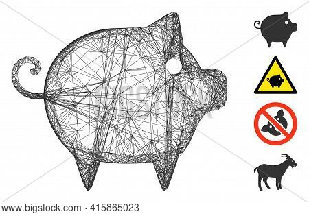 Vector Net Piggy. Geometric Wire Frame 2d Net Made From Piggy Icon, Designed From Crossed Lines. Som