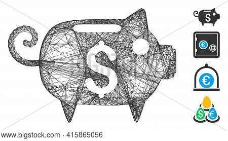 Vector Wire Frame Piggy Bank. Geometric Wire Frame Flat Network Made From Piggy Bank Icon, Designed