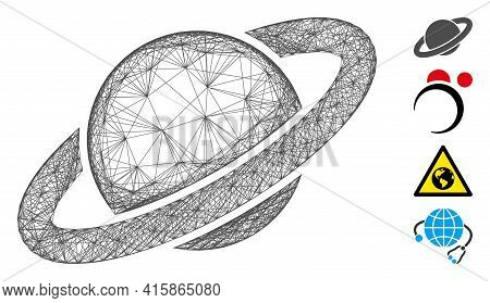 Vector Wire Frame Planet Saturn. Geometric Hatched Frame Flat Network Made From Planet Saturn Icon,