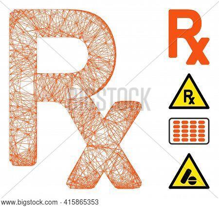 Vector Net Prescription Symbol. Geometric Hatched Frame 2d Net Made From Prescription Symbol Icon, D