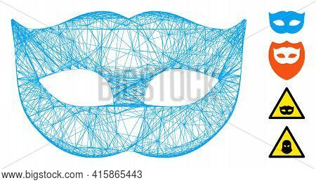 Vector Wire Frame Privacy Mask. Geometric Wire Frame Flat Net Generated With Privacy Mask Icon, Desi