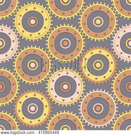 Vector Seamless Patern Gears. Colored Round Gear Elements Of The Mechanism. Isolated Details On Grey