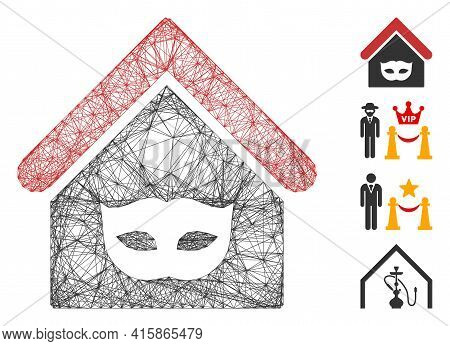 Vector Wire Frame Private Party House. Geometric Wire Frame 2d Network Made From Private Party House