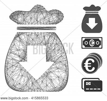 Vector Network Profit Bag. Geometric Wire Frame Flat Network Made From Profit Bag Icon, Designed Fro
