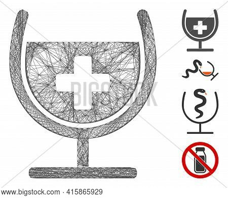 Vector Wire Frame Remedy Syrup Glass. Geometric Wire Frame Flat Net Made From Remedy Syrup Glass Ico