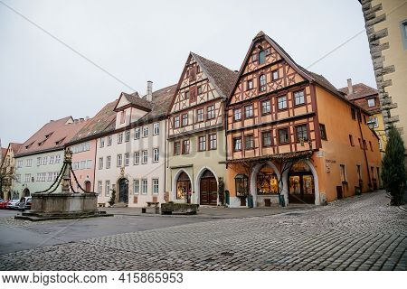 Medieval Narrow Street, Colorful Renaissance, Gothic Historical Buildings, Stone Fountain Herrnbrunn
